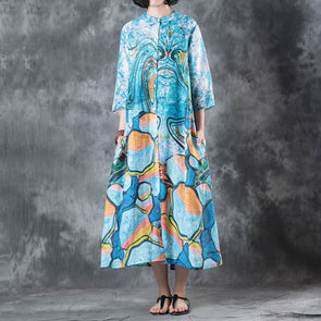 Stand Collar Three Quarter Sleeve Blue Printed Ramie Dress
