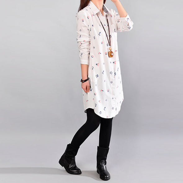 Printing Women Long Sleeve White Blouse - Buykud