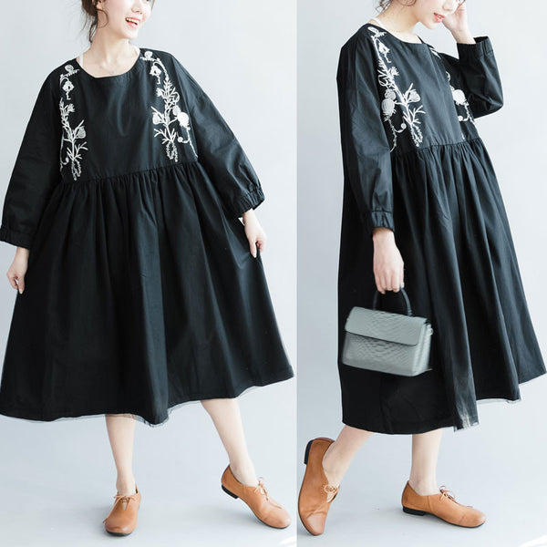 Women Splicing Embroidered High Waist Cotton Black Dress - Buykud