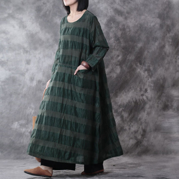 Loose Stripe Linen Pocket Dress