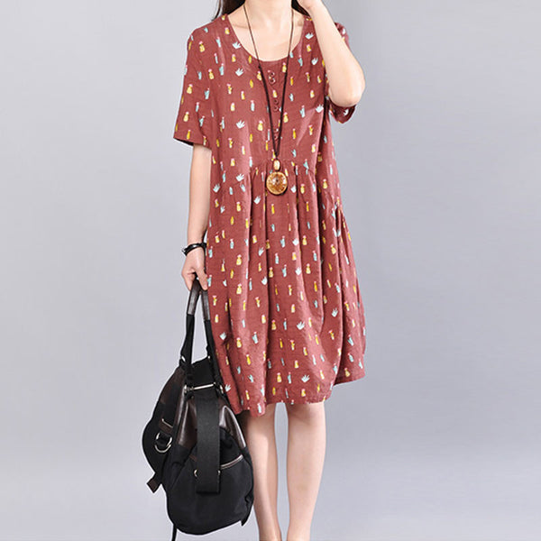 Floral Printing Loose Summer Women Casual Cotton Red Dress