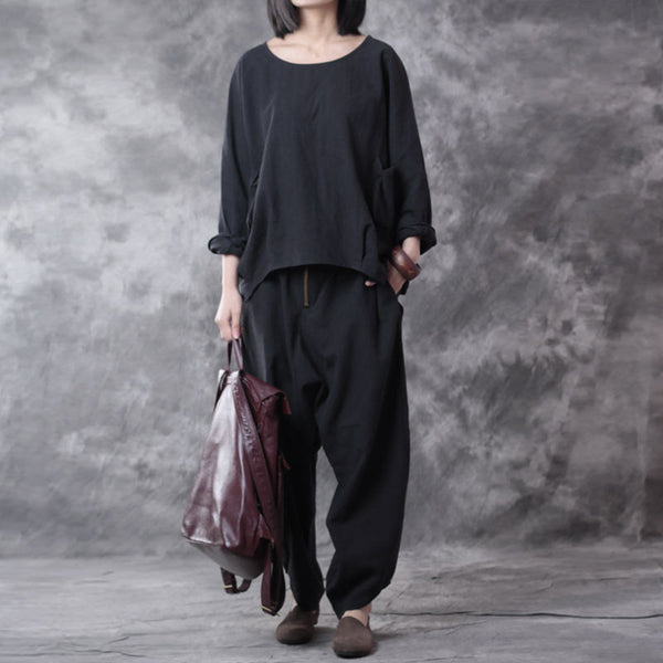 Casual Linen Loose Women Black Twinset(Shirt+Pants)