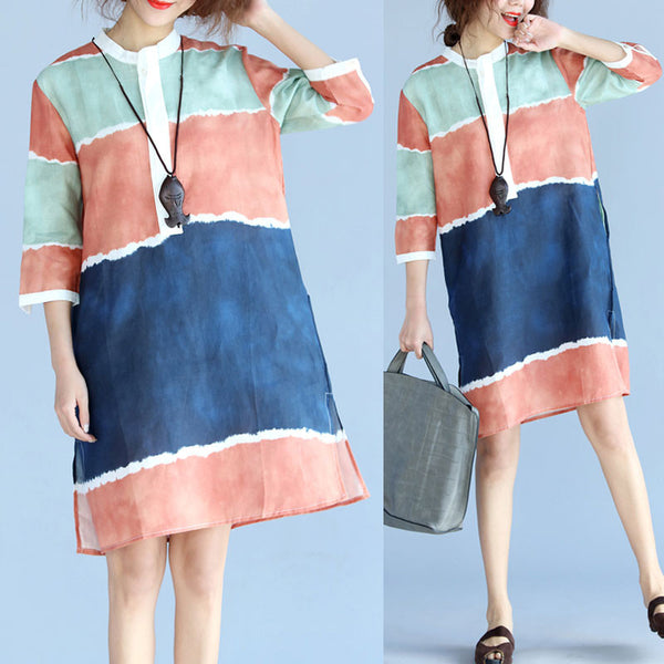 Linen Contrast Color Casual Loose Dress