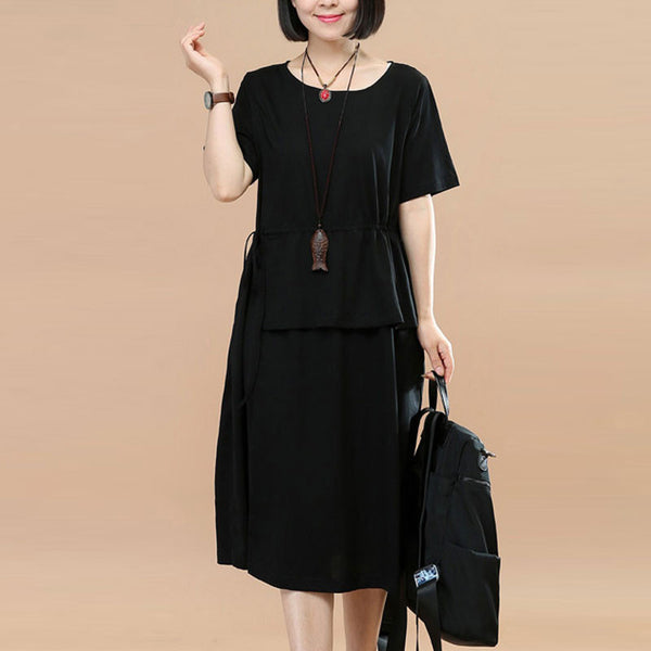 Splicing Women Loose Casual Lacing Cotton Summer Black Dress - Buykud