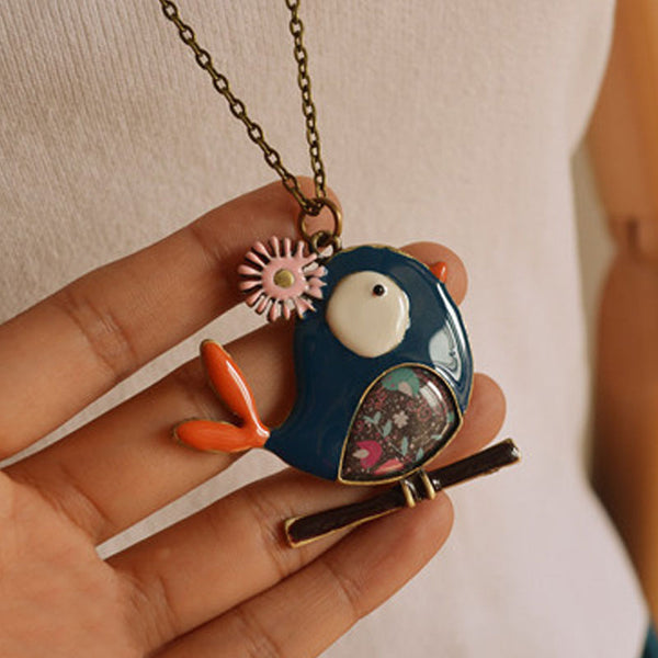 Women Metal Blue Bird Retro Pendant Necklaces