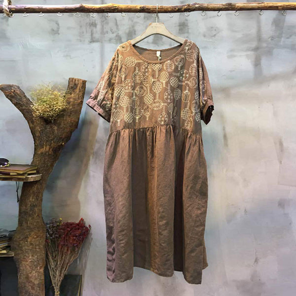 Spring Embroidered Fold Round Neck Coffee Dress