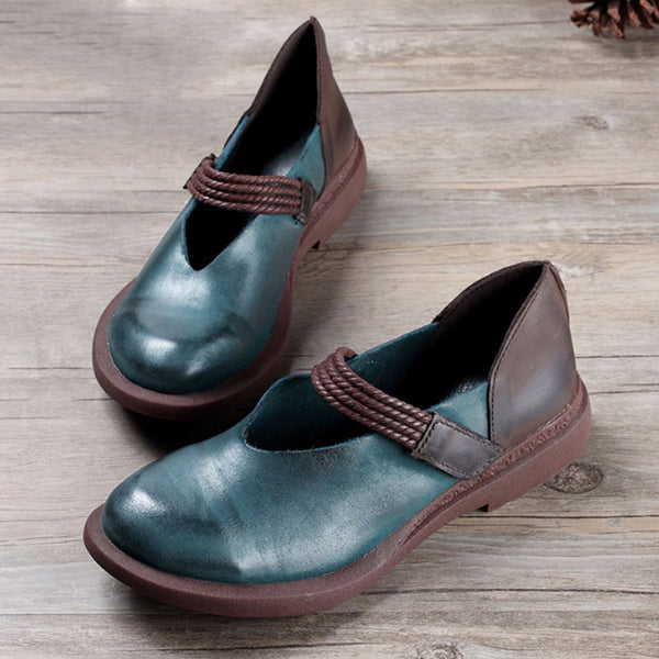 Women Portable Spring Summer Splicing Dark Green Shoes - Buykud
