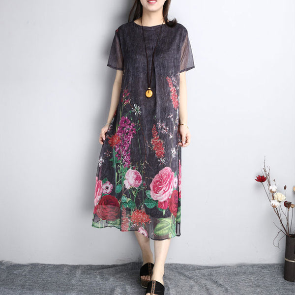 Summer Ethnic Printing Loose Chiffon Dark Gray Dress - Buykud