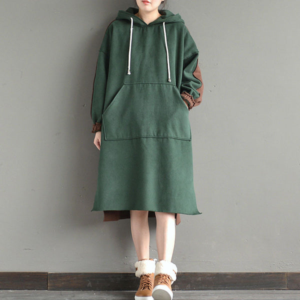 Casual Dark Green And Coffee Hooded Long Pullover - Buykud