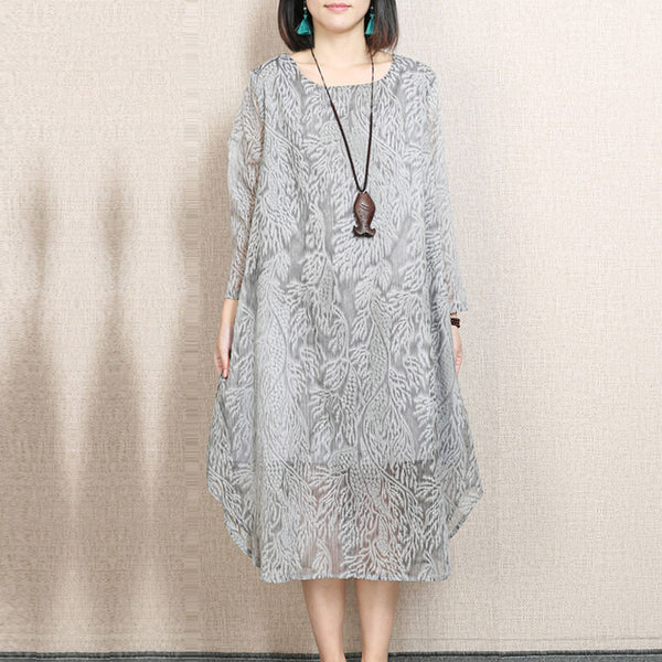 Irregular Round Neck Printing Gray Dress