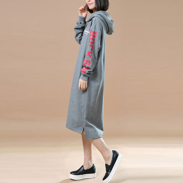 Spring Casual Loose Hooded Gray Long Pullover Dress - Buykud