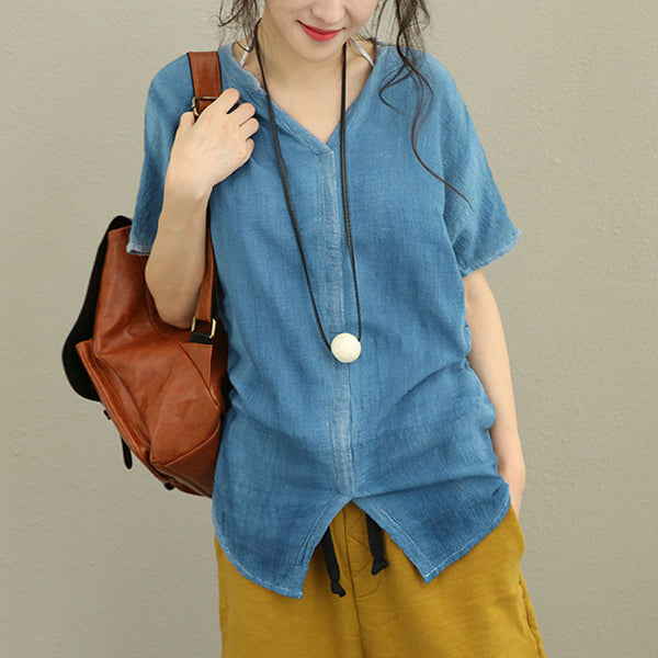Literature V Neck Cotton Linen Splitting Women Blue Shirt