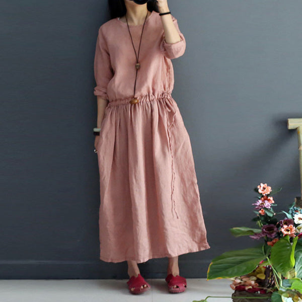 String Women Loose Retro Casual Folded Linen Pink Dress - Buykud