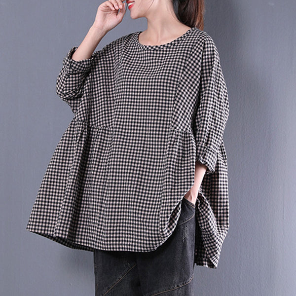 Casual Round Neck Long Sleeve Spring Lattice Shirt