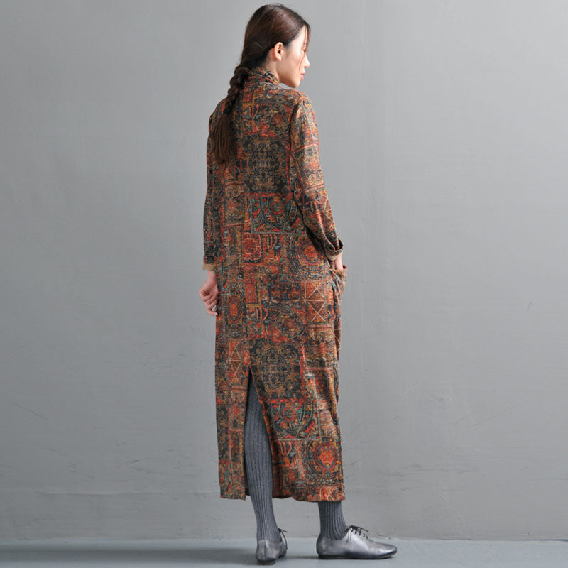 Women's Retro Printing Dress Autumn Vintage Dresses - Buykud