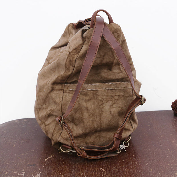 Brown Canvas Leather Casual Women Shoulder Bag - Buykud
