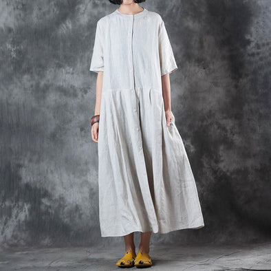 Single Breasted Short Sleeve Beige Flax Plain Dress