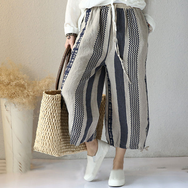 Casual Printing Loose Linen Pants