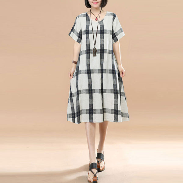 Round Neck Short Sleeves Women Summer Blue And White Lattice Dress - Buykud