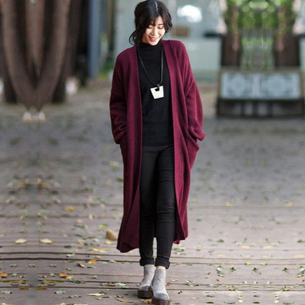 Wine Red Belt Knitted Jacket