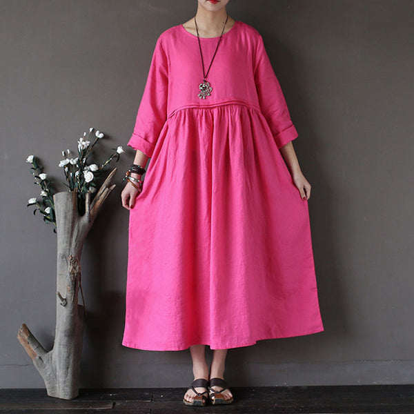 Linen Round Neck Loose High Waist Rose Red Dress - Buykud