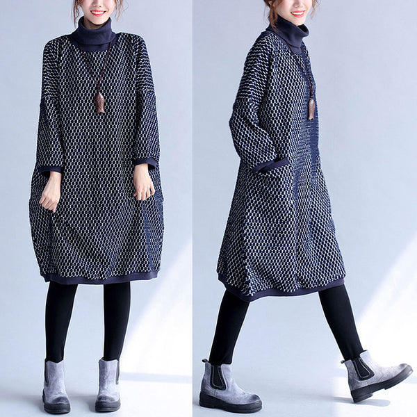 Turtle Neck Hedging Long Sleeves Navy Blue Baggy Women Dress - Buykud