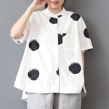 Stand Collar Short Sleeve Loose Cotton White Shirt