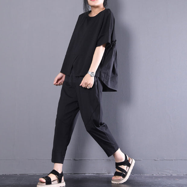 Women Black Cotton Short Sleeve Pleated Loose Tops