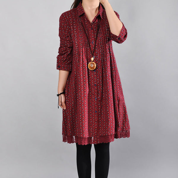 Loose Floral Long Sleeves Dark Red Dress