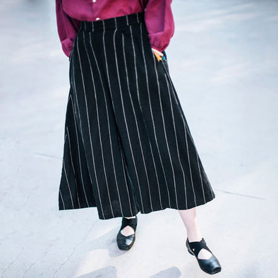 Summer Women Loose Casual Stripe Black Wide Leg Pant - Buykud