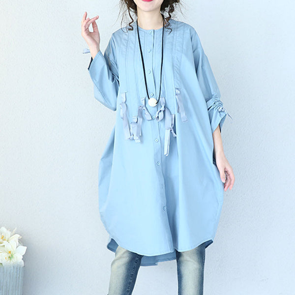 Spring Women Irregular Blue Loose Shirt