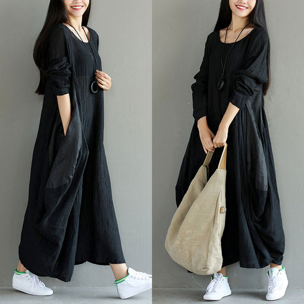 Loose Women Casual Folded Linen Irregular Black Dress