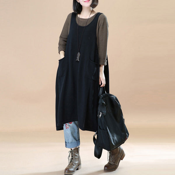 Women Solid Black Pockets Pleated Lacing Vest Dress - Buykud