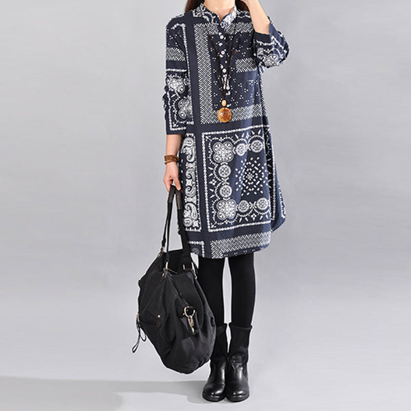 Spring Retro Printing Long Sleeve Dress - Buykud