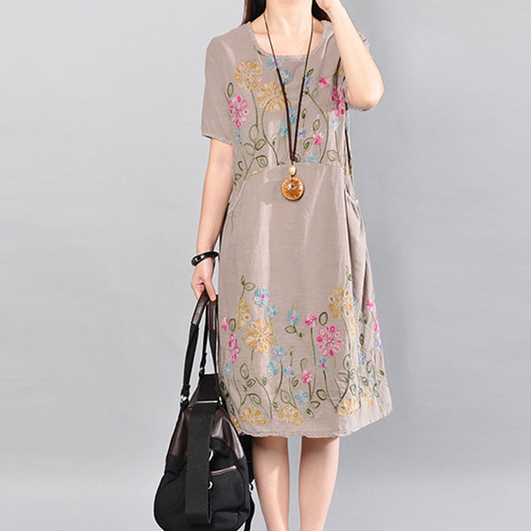 Summer Printing Floral Loose Cotton Short Sleeves Coffee Dress - Buykud