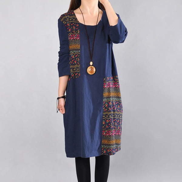 Printing Cotton Round Neck Women Blue Dress