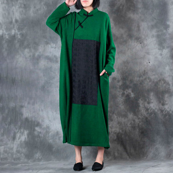 Vintage Literature Women Stand Collar Long Sleeve Patchwork Embroidery Dress - Buykud