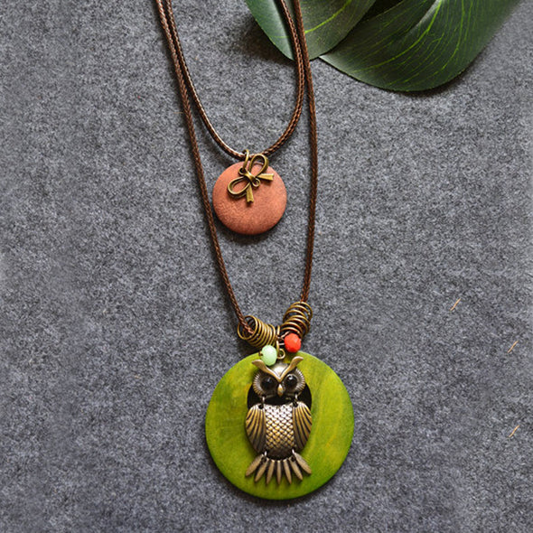 Double Round Wood Owl Bow-knot Pendant Necklaces