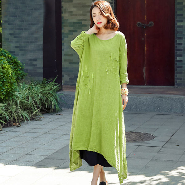Spring Linen Distressed Loose Green Dress