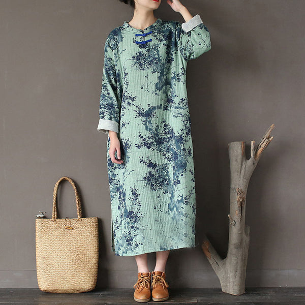 Retro Loose Casual Printing Round Neck Green Dress