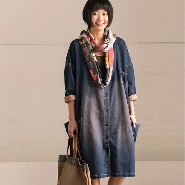 Women Casual V Neck Pocket Denim Coat