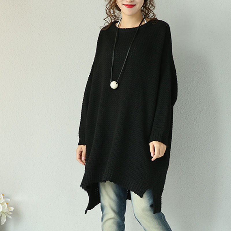 Black Wool Loose Casual Sweater