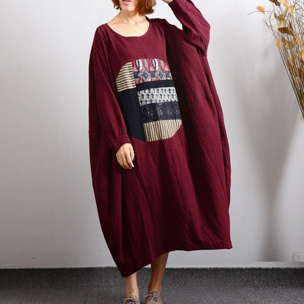 Cotton Linen Stitching Bat Sleeve Dress - Buykud