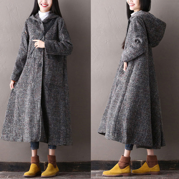 Women Autumn Winter Hooded Single Breasted Long Sleeve Coat