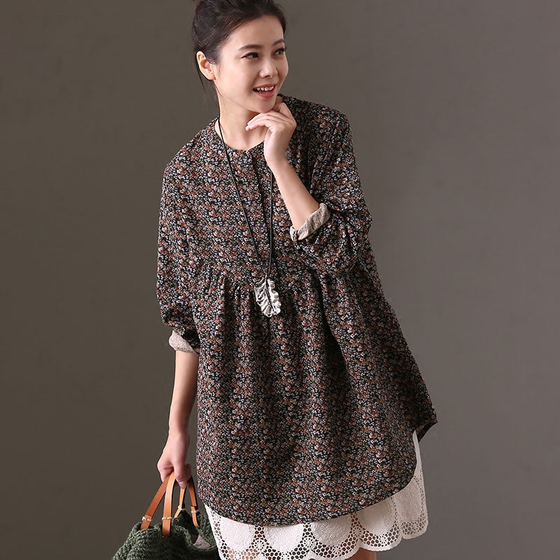 Spring Autumn Women Long Sleeve Floral Printed Shirt - Buykud