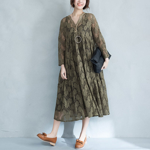 Irregular Lacing Retro Cotton Women Green Dress