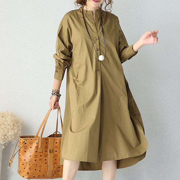 Army Green Irregular Casual Loose Dress