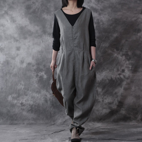 Linen Loose Pocket  V Neck Jumpsuit