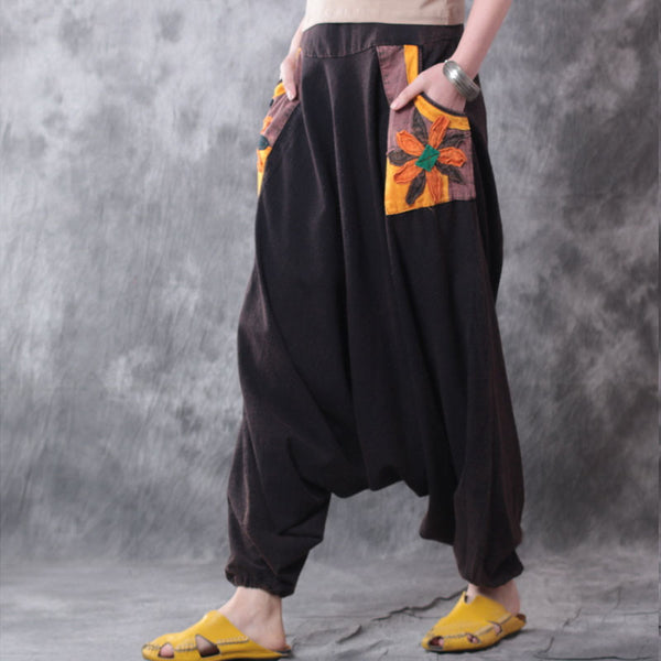 Retro Casual Linen Black Harlan Wide Leg Pants