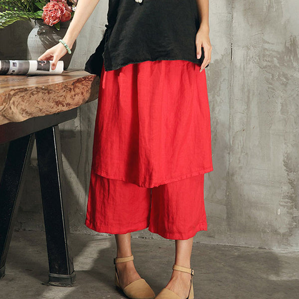 Loose Casual Linen Summer Women Red Pants - Buykud